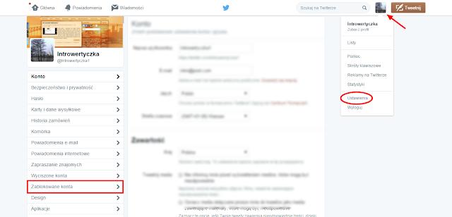 Twitter - ustawienia