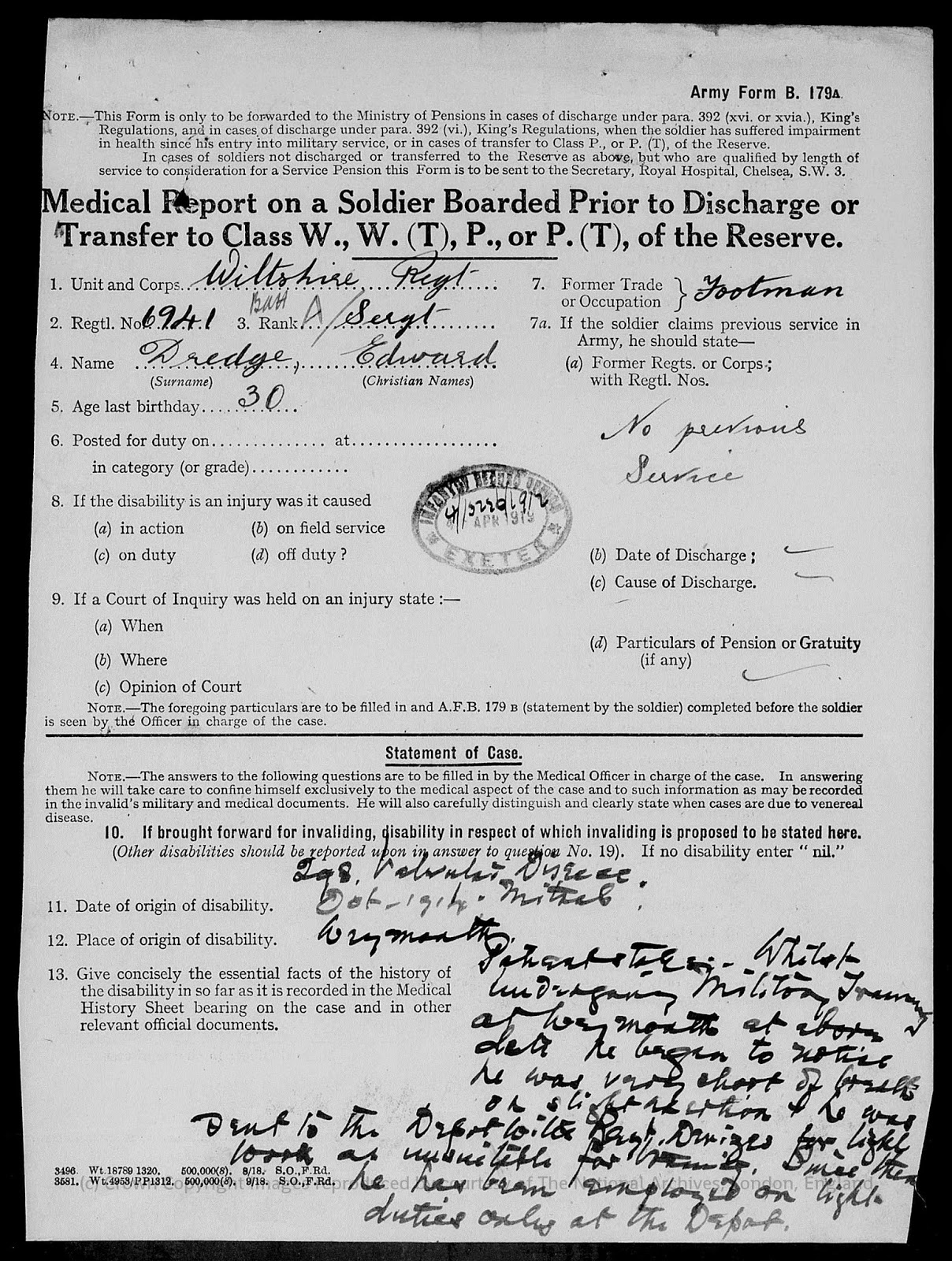 Army Form B.179a - medical report on a soldier