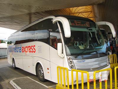 national express coach, heathrow airport, london, uk