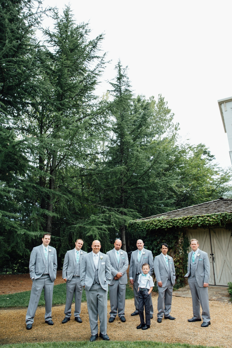 the groomsmen outside Villa Christina