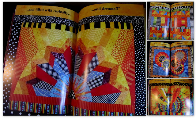 """""""You're Wonderful"""" Picture Book Illustrations from fabric as small quilts by Debbie Clement"""