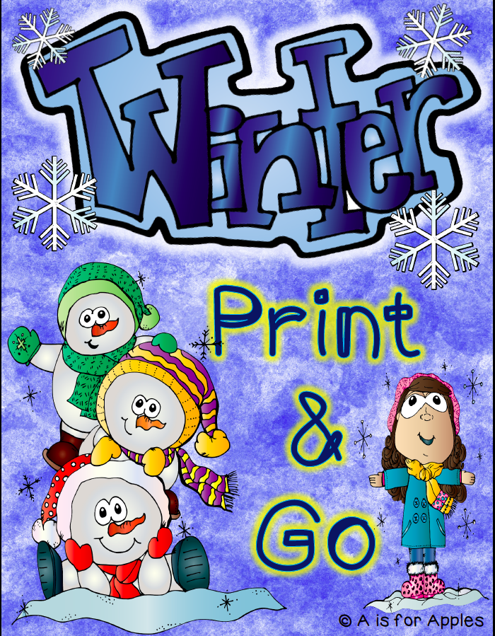 This is a graphic for a kindergarten academic resource called Winter Print and Go.