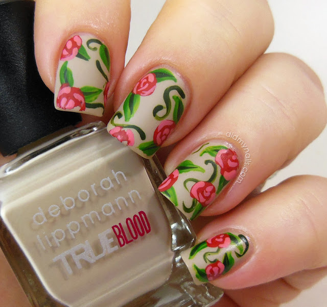 red rose nail art over Deborah Lippmann Human Nature