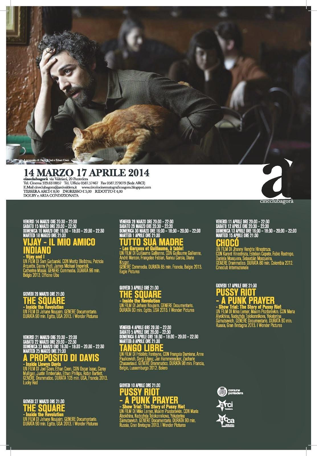 Programma dal 14 marzo al 17 aprie