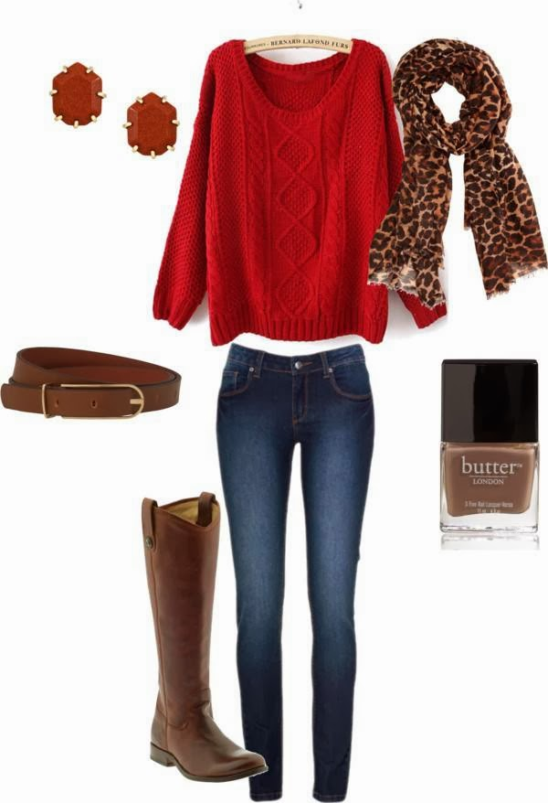 Amazing Red Sweater,Brown Earrings and Long Boots, Skinny Jeans , Scarf and Suitable Belt