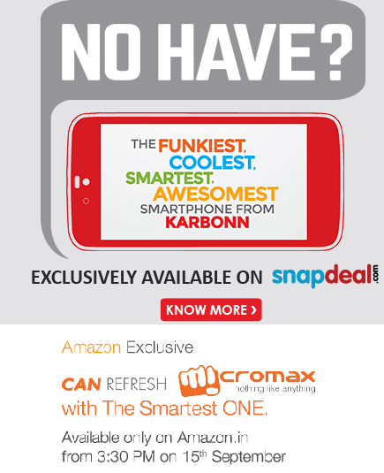 Buy Android One( Karbonn Sparkle Rs 5999; MMX Canvas 1 Rs 6499; Spice Uno Rs 6299) with Revised Price