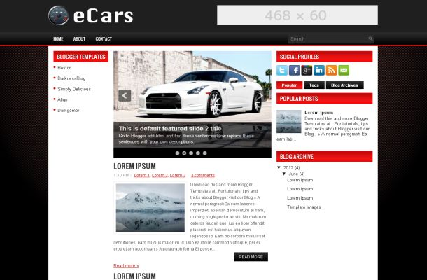 Red Black Cars Magazine Blogger Theme Template