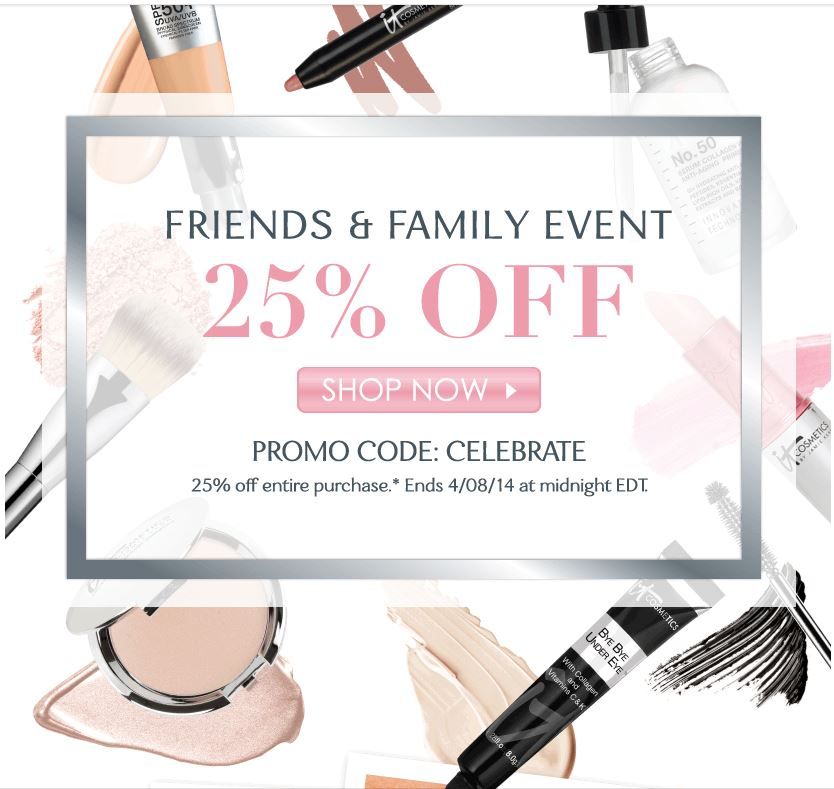 Save 25% during IT Cosmetics Friends & Family Event!