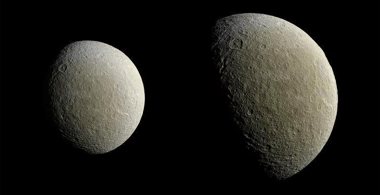 Cassini captured these views of Saturn's icy moon Rhea on Feb. 9. The spacecraft returned to equatorial orbits around Saturn in March after nearly two years, allowing the mission to once again have close encounters with moons other than Titan. Credit: NASA/JPL-Caltech/Space Science Institute