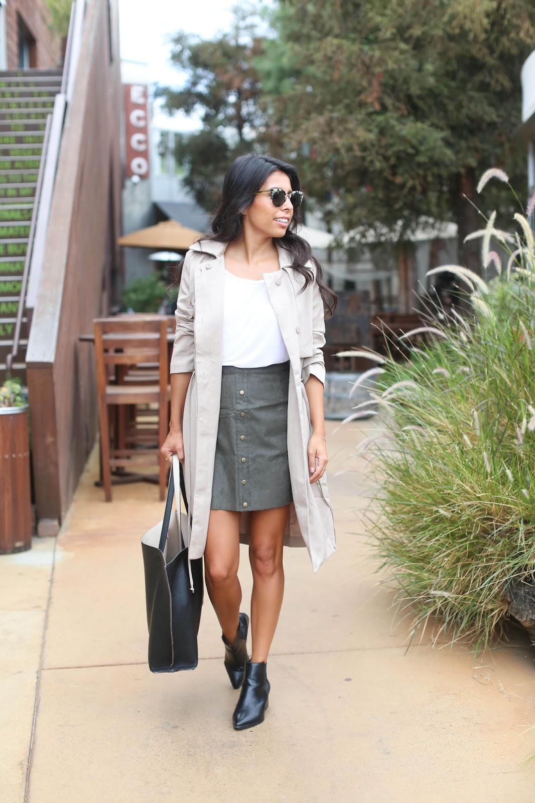 how to wear black booties to work, justfab clothes, trench coat styling