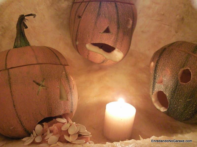 Calabacitas de Halloween, http://www.enredandonogaraxe.com