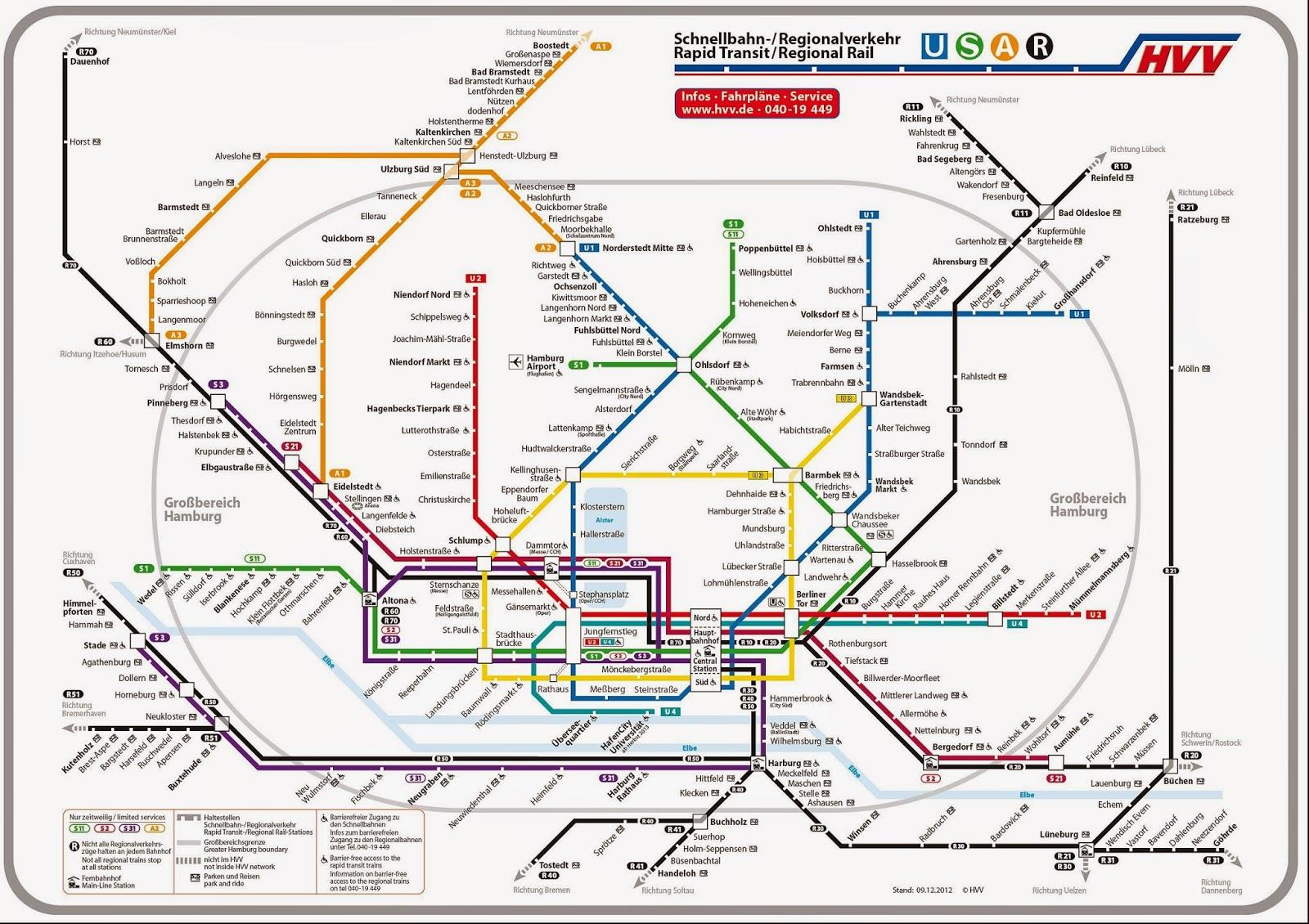 Netzplan öffentlicher Nahverkehr Hamburg