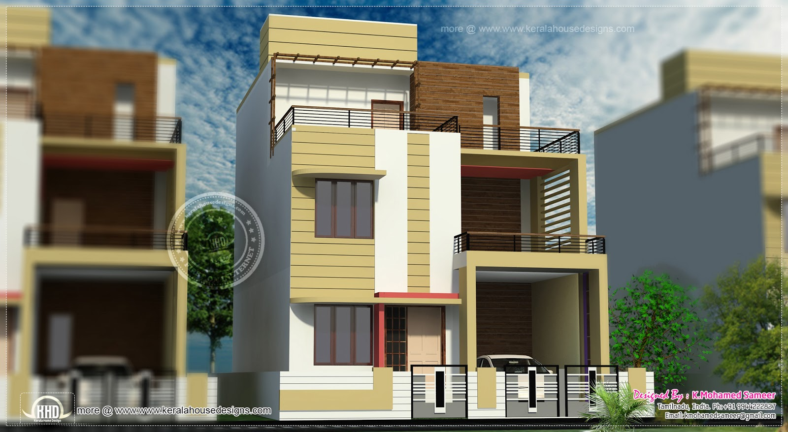 3 story house plan design in 2626 sq feet home kerala plans