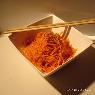 Illustration des carottes râpées sauce soja