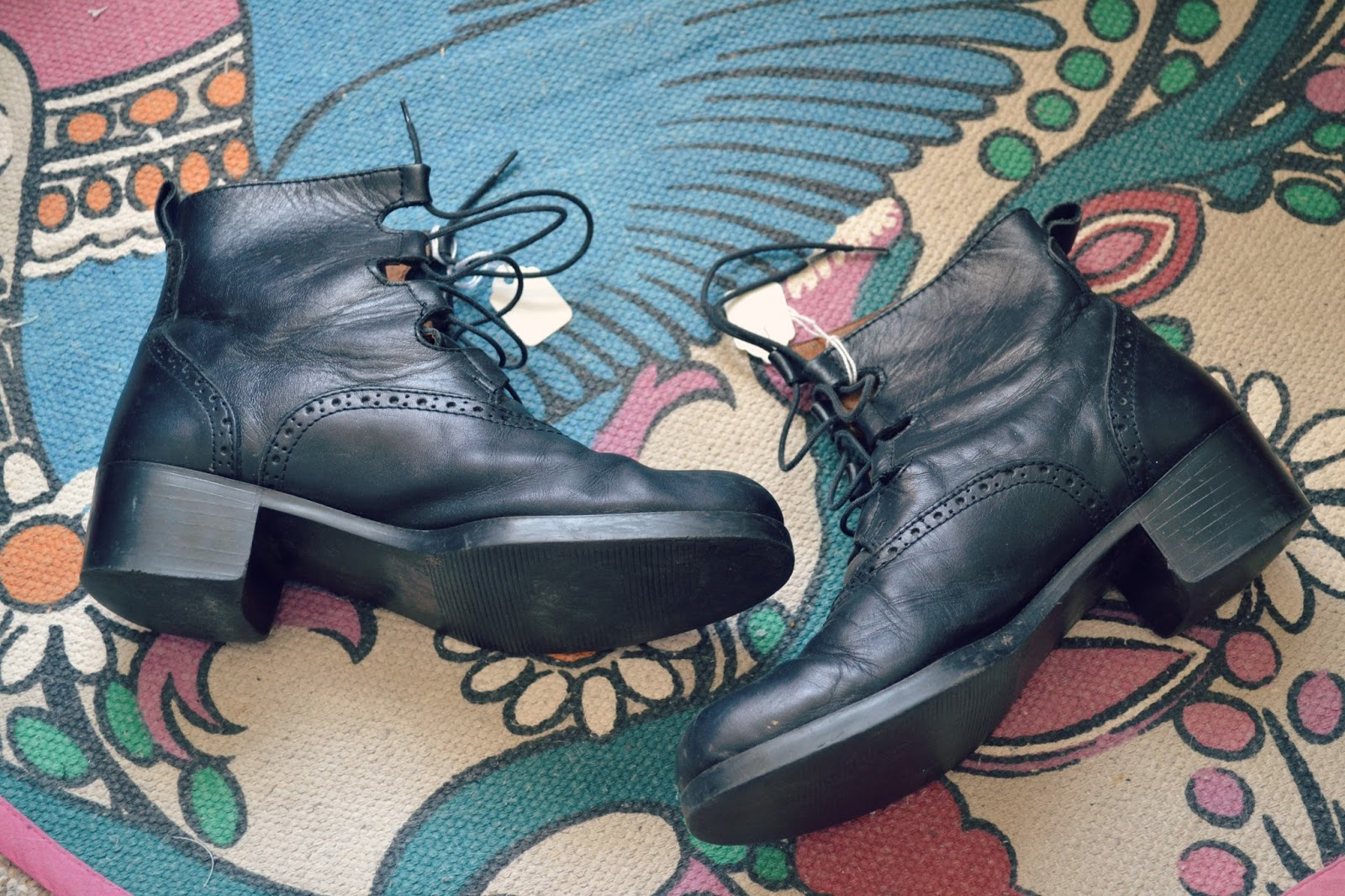 black leather vintage ankle boots lace up alexa festival