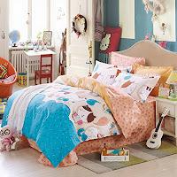 cat band orange bedding set