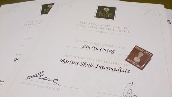 SCAE BARISTA Skills 初級.中級 證書
