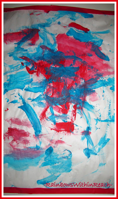 photo of: Toddler Collaborative Painting with Patriotic Colors