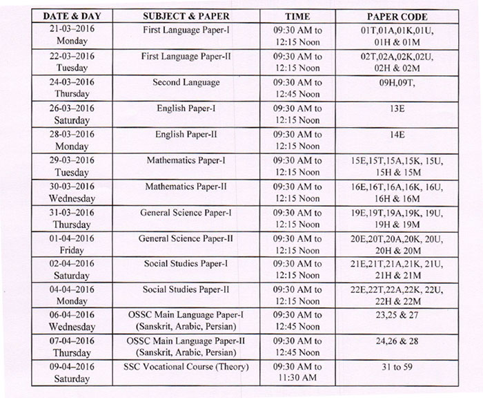 Telangana ts ssc 10th class exam time table 2016 released for Up board 10th time table