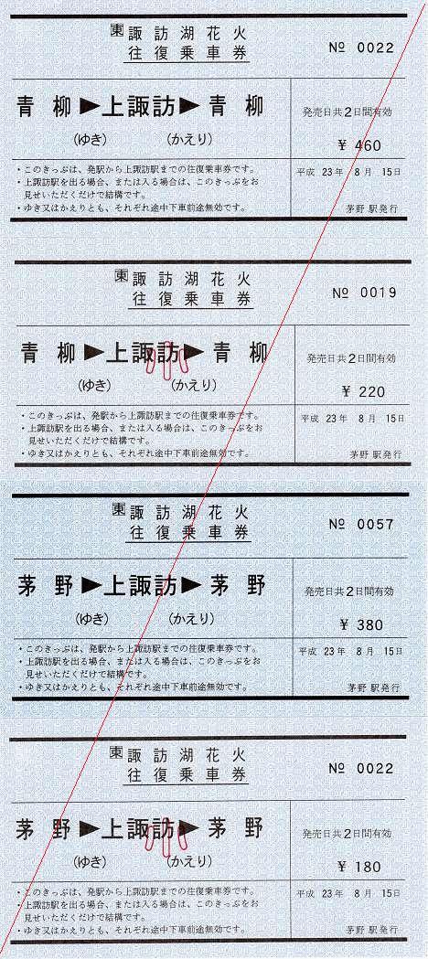 JR東日本 第63回諏訪湖花火往復乗車券1 常備券 軟券 青柳・茅野駅