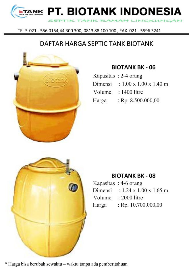 daftar harga septic tank biotank, induro, biofil, biocomb, biofill, sepiteng