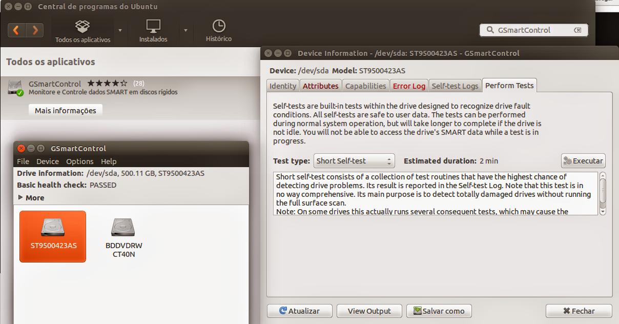 GSmartControl no Ubuntu