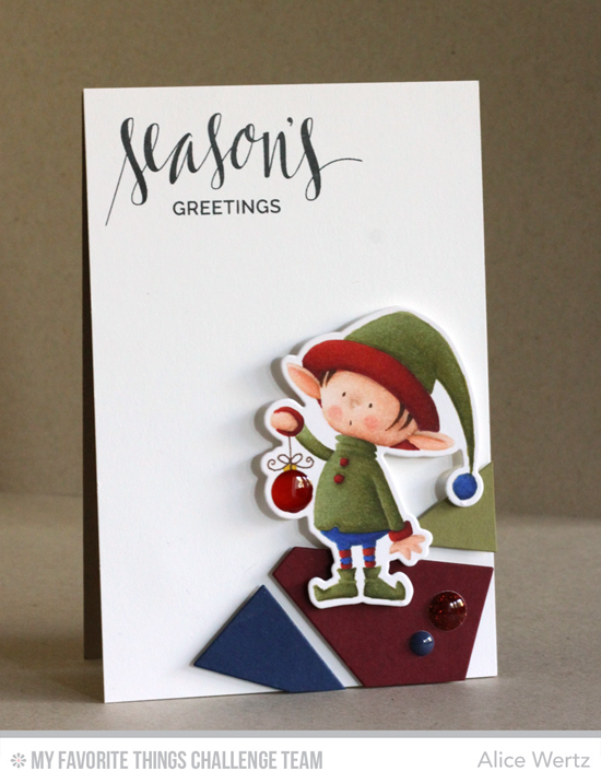 Season's Greetings Elf Card by Alice Wertz featuring the Birdie Brown Santa's Elves stamp set and Die-namics, the Hand Lettered Holiday stamp set, and the Abstract Cover-Up Die-namics #mftstamps