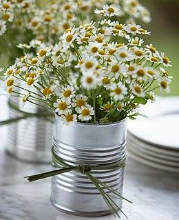 daisy tin can centerpiece