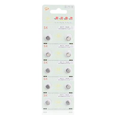 Especificaciones Marca  SK Modelo  AG11 / LR721 Tipo de celda  LR (Alcalina) Voltaje (V)  1.55V Unidades Por Caja  10 Dimensiones (cm)  0.79x0.79x0.21 Peso (kg)  4.0E-4