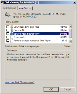 Remove Windows 7 Service Pack 1 Backup Files