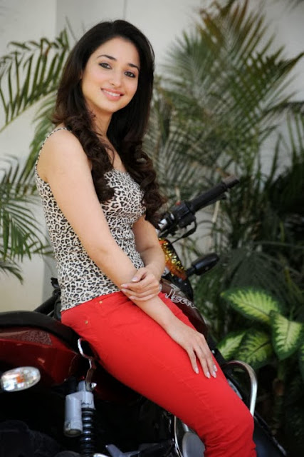 Tamanna beautiful in red jeans