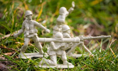 Toy soldiers portraying the idea of phoney war