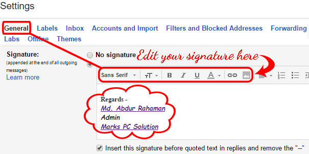 Settings > General > Signature