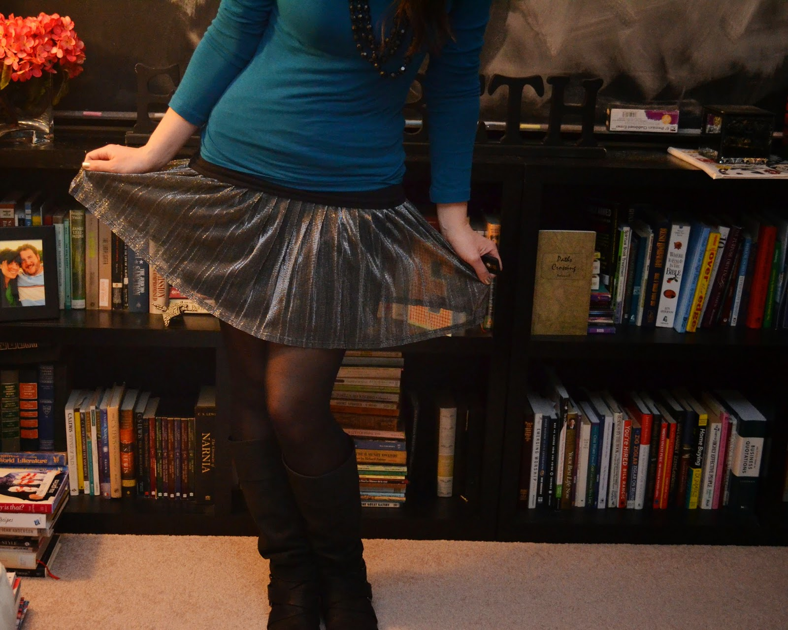 Metallic skirt and boots