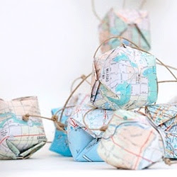 Pudełka z motywem mapy DIY