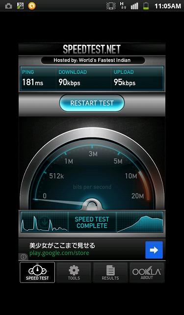 「ServersMan SIM 3G 100」の実測値が復活した