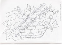 risco cesto de uvas e flores