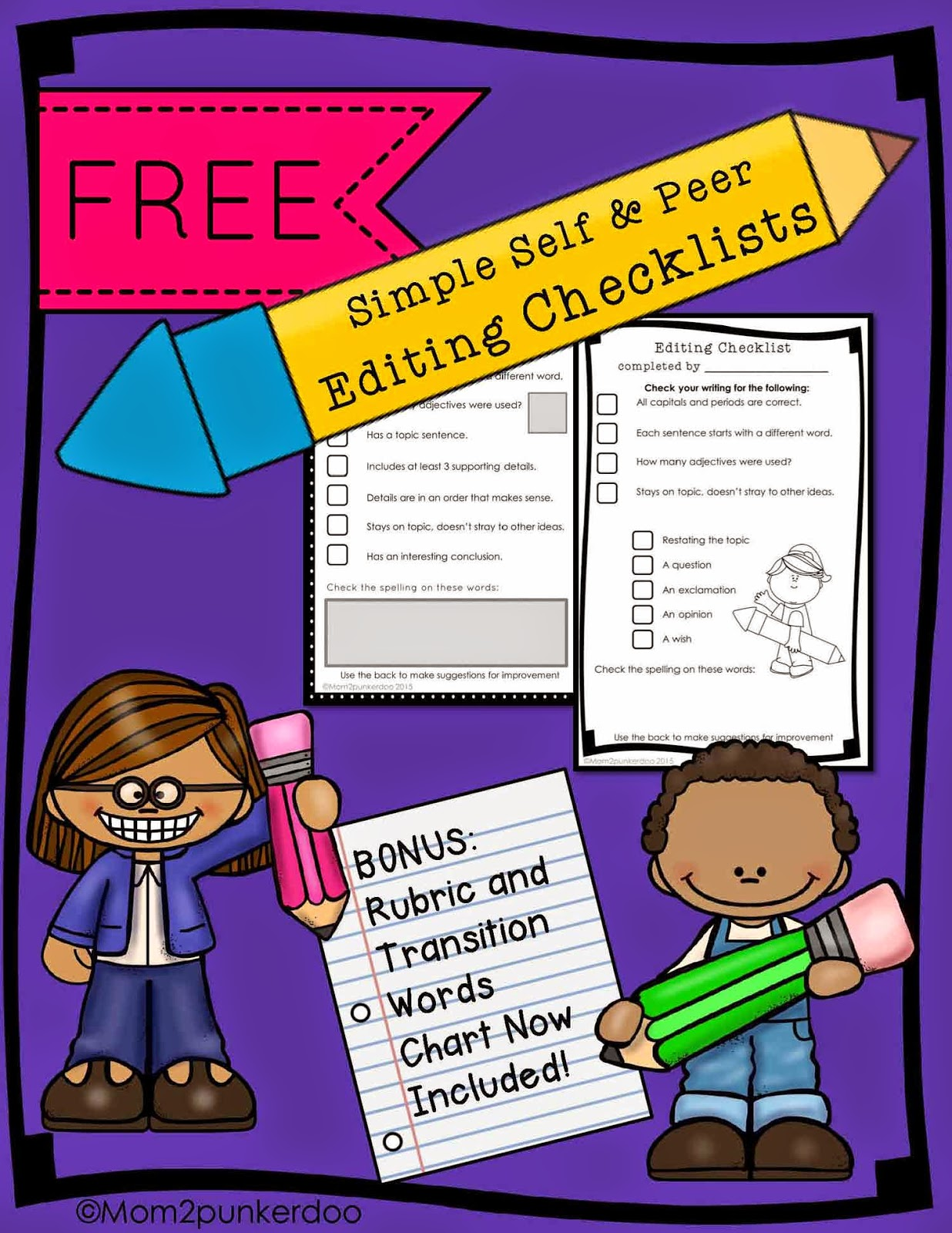 Free Editing Checklist and Rubric