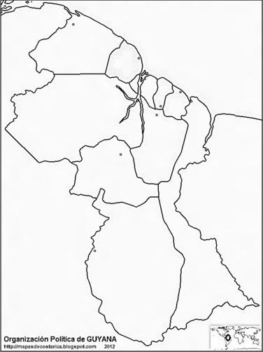 Mapa de la organización política de GUYANA, blanco y negro