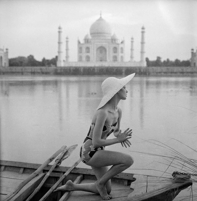 Barbara Mullen wearing a bathing dress Agra India