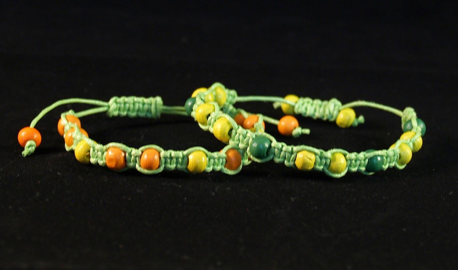 macrame bracelets green
