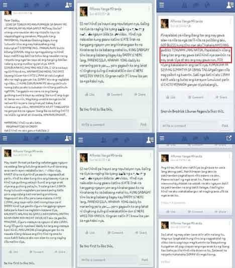 Facebook post of Chito Miranda's alleged son
