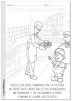 Día del Padre - Ficha para colorear y leer - Cocinando