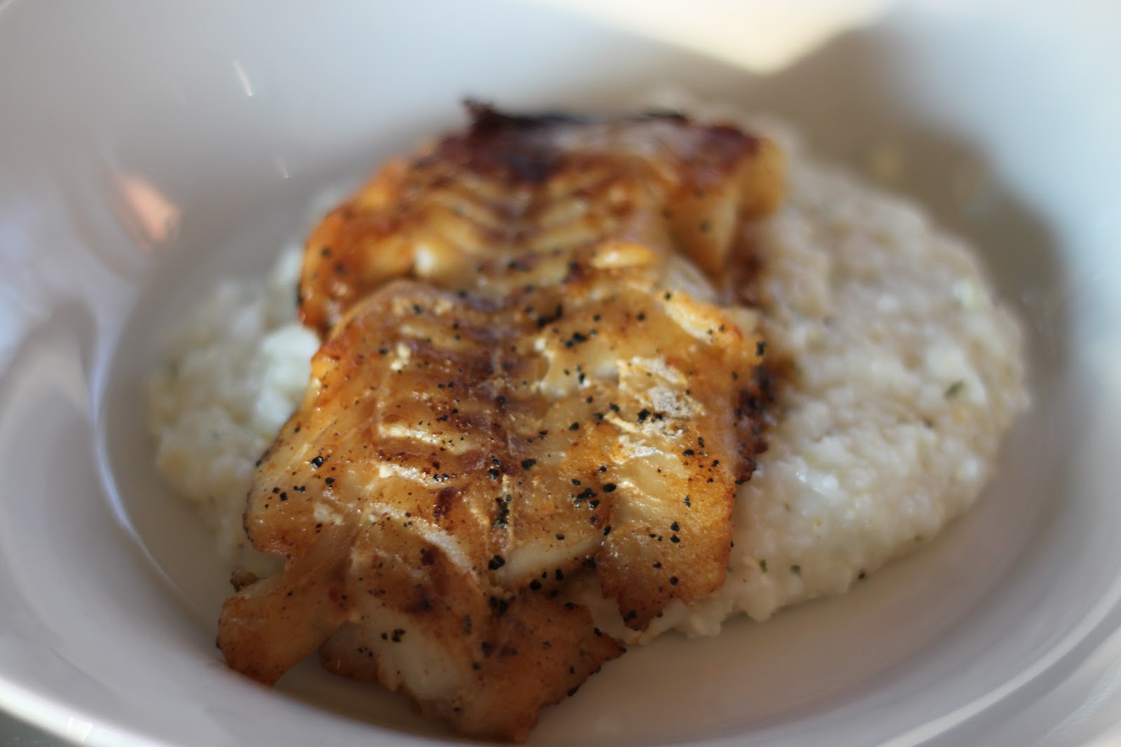 Pappardella spice rubbed fish with fancified cheese grits for Fish and grits