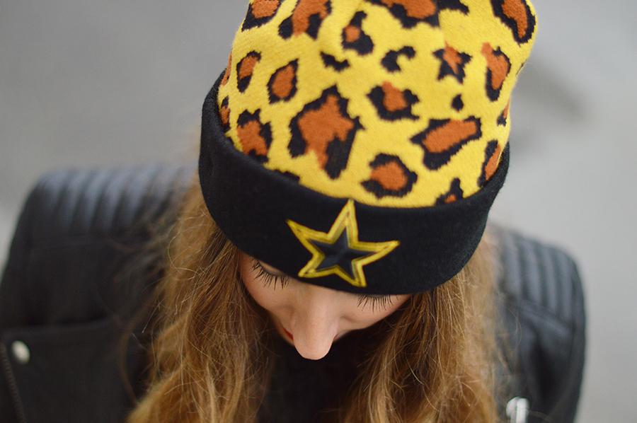 beanie, beanie outfit, beanie fashion blogger, New Era, New Era beanie, leopard