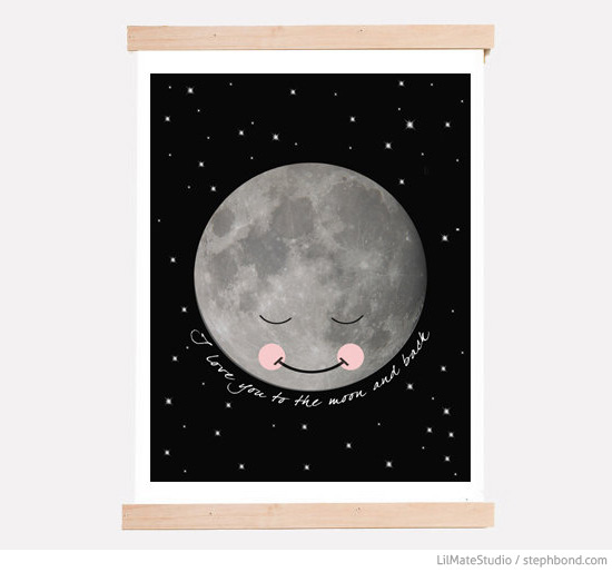 Cute Love You To The Moon And Back wall art print by Maeve and Marigold