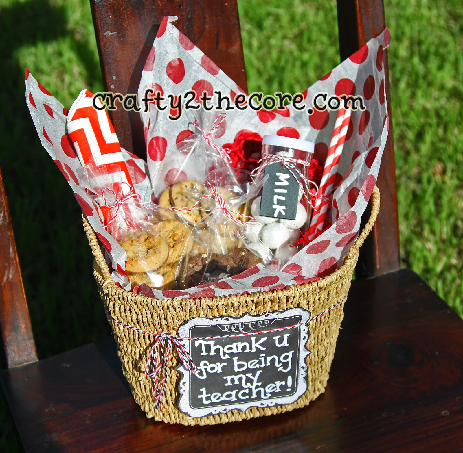 Teacher Gift Idea with new Mrs. Field's Nibbler Cookies, milk jar, straws, napkin, crochet coaster.