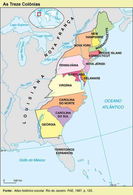 Mapa das Treze Colônias