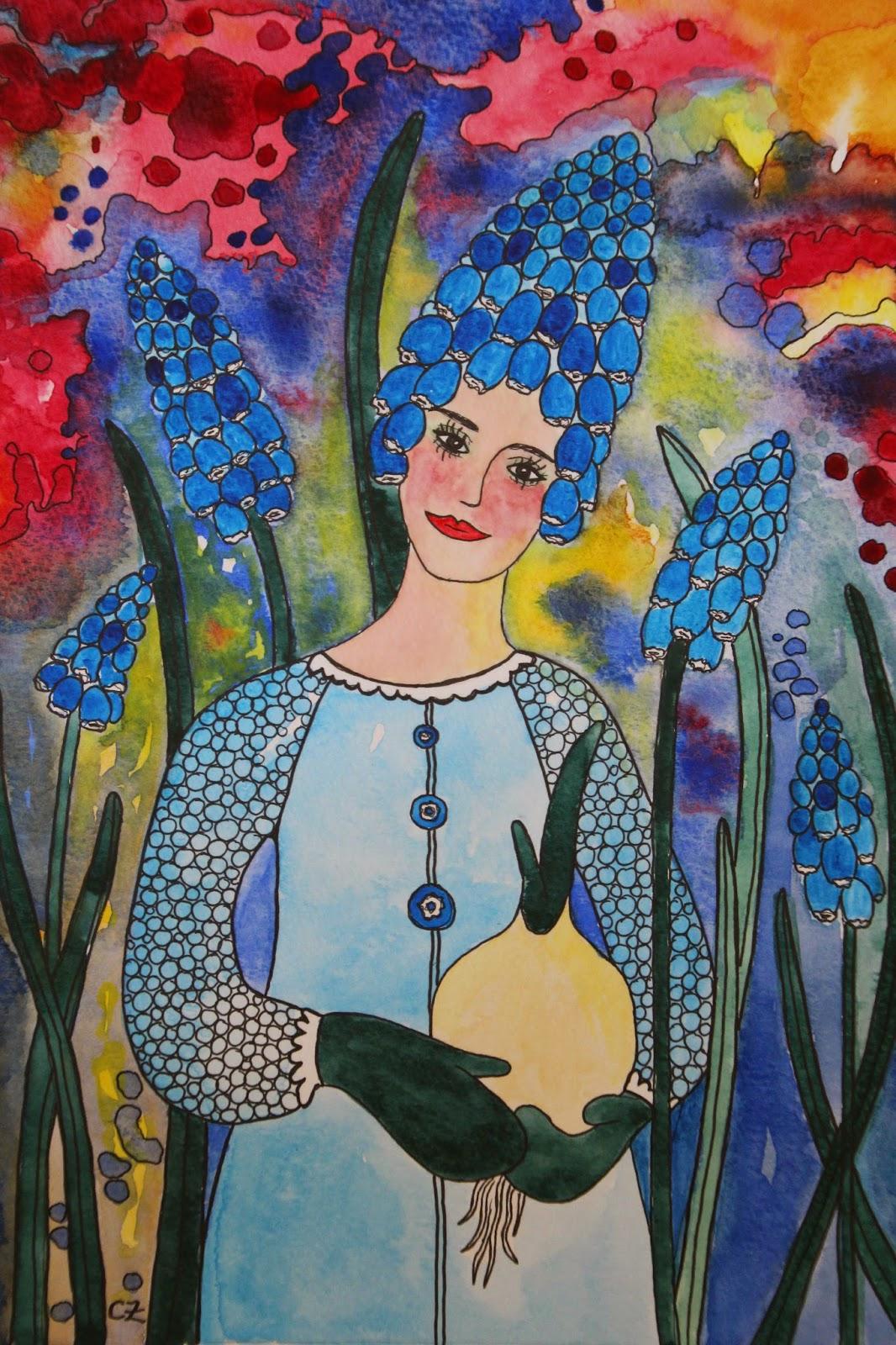 Pärlhyacint akvarell carolin zander