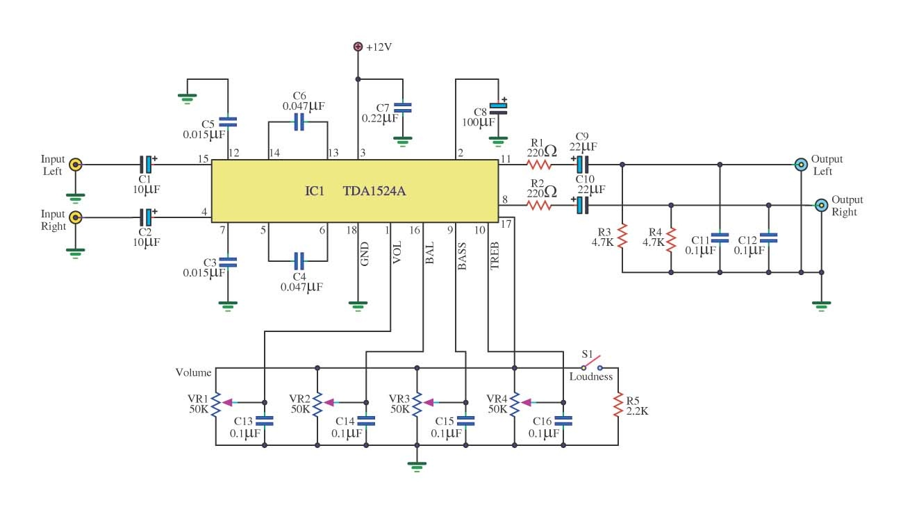 Simple Tone Control Circuit Diagram | Tone Control Circuit Using Tda1524a Circuit Diagram